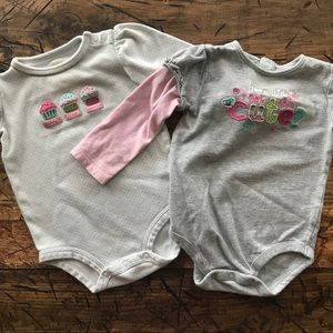 (4 for $5) Long Sleeve Baby Girl Onesies 12 Months